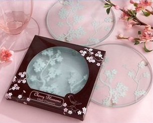 Exotic Cherry Blossom Glass Coasters (2pcs/set)